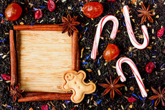 Christmas tea and sweets background, blank space for text in cin Royalty Free Stock Photos