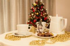 Christmas tea time. Tea table setting for christmas Stock Images