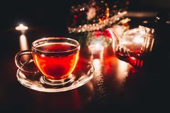 Christmas tea time. In the evening. Christmas holiday background. Cosy evening stock images