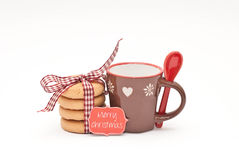 Christmas. Teacup, cookies and paper label Stock Image