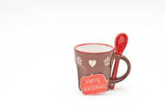 Christmas. Teacup with spoon and paper label Stock Photography