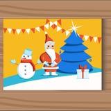 Christmas team. Cartoon Santa Claus. Vector illustration. stock illustration