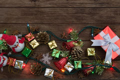 Christmas team,Christmas rustic background decoration with snowm Royalty Free Stock Photos