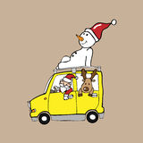 Christmas team Santa reindeer snowman Stock Images