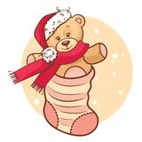 Christmas Teddy Baby In Sock Royalty Free Stock Image