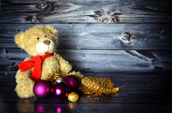 Christmas Teddy with baubles. Little Christmas Teddy with baubles Royalty Free Stock Images