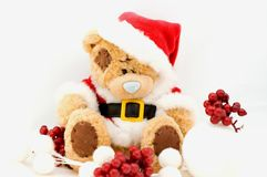 Christmas teddy bear. Isolated on white Stock Photography
