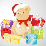 Christmas teddy bear. Illustration of gifts around a christmas teddy bear Royalty Free Stock Photography