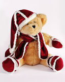 Christmas Teddy Bear. A Christmas Teddy Bear all dressed up ready for thanksgiving in red santa outfit Stock Photos