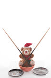 Teddy Bear with chopsticks, dish. Royalty Free Stock Photos