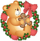 Christmas teddy bear with cookie in crown. Scalable vectorial image representing a Christmas teddy bear with cookie in crown, isolated on white stock illustration