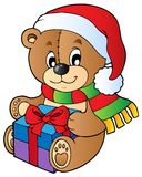 Christmas teddy bear with gift. Vector illustration Royalty Free Stock Images