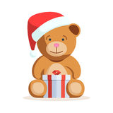 Christmas Teddy bear with gift box Stock Images