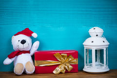 Christmas teddy bear and gift Royalty Free Stock Image