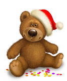 Christmas Teddy bear. Bear in the header of Santa Claus on a white background Royalty Free Stock Photography