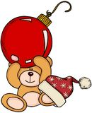 Christmas teddy bear holding red ball. Scalable vectorial image representing a Christmas teddy bear holding red ball, isolated on white Royalty Free Stock Photo