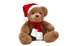 Christmas teddy-bear isolated Royalty Free Stock Images