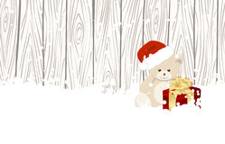 Christmas teddy bear. In snow on wood fence background. Vector illustration Royalty Free Stock Image
