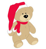 Christmas teddy bear on the white background Royalty Free Stock Images