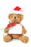Christmas teddy bear with white space card Royalty Free Stock Images