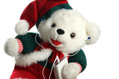 Christmas teddybear with mp3 player Stock Photography