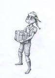 Christmas teen elf. Holding gift box. Big eyed anime creature Pencil drawing vector illustration