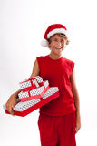 Christmas Teenager Laughing Royalty Free Stock Photography