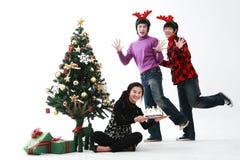 Christmas of Teenagers Stock Photos