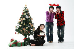 Christmas of Teenagers Royalty Free Stock Images