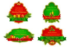 Christmas Template. Vector illustration of Christmas template with different object Royalty Free Stock Photography
