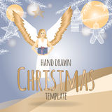 Christmas template with angel holding a present. And holiday decorations. Based on hand drawn sketch. Great for greeting cards and holiday design Royalty Free Stock Photo