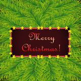 Christmas template on background of fir. Vector Christmas template with congratulations in decorative frame on background of fir Royalty Free Stock Images