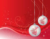 Christmas template with balls. Vector illustration of Christmas greetings template with crystal balls royalty free illustration