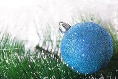 Christmas template. Christmas blue ball on branch fir tree Stock Photo
