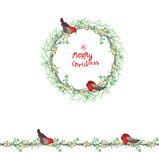 Christmas template with bullfinches and white berries. royalty free illustration