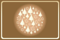 Christmas template with circle build by trees and snowflakes. Template of a Christmas card with golden trees and snowflakes without text Stock Photo
