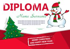 Christmas template diploma or certificate. New year reward with Christmas tree and snowman. Vector. Illustration Royalty Free Stock Photography