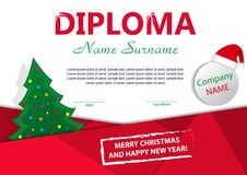 Christmas template diploma or certificate. New year reward with Christmas tree and Santa hat. Vector. Illustration Royalty Free Stock Photos