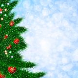 Christmas template with fir tree. Blurred background illustration. Christmas template with fir tree, snow and red balls. Blurred bokeh background illustration Royalty Free Stock Photography