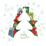 Christmas template with fir tree and gift boxes. Stock Photo