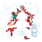 Christmas template with fir tree, Santa, decoration and snowman. Royalty Free Stock Photography
