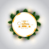 Christmas template frame background with ornaments and branches, Stock Images