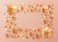 Christmas template frame inscription decorated with orange snowflakes. EPS 10. Vector file vector illustration