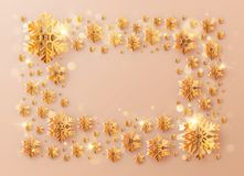Christmas template frame inscription decorated with rose gold foil snowflakes. EPS 10 stock illustration