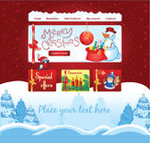 Christmas template for gift on line shop. Vector background with snowman Royalty Free Stock Images