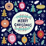 Christmas template for greeting cards. Hand drawn doodles Vector. Illustration vector illustration