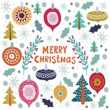 Christmas template for greeting cards. Hand drawn doodles Vector. Illustration stock illustration
