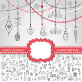 Christmas template.Icons,label,balls. Christmas,New design template,card.Doodle icons ornament,Garland,balls with label.Different decorative elements for winter Royalty Free Stock Photo