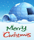 A christmas template with an igloo Stock Photo