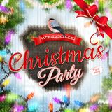 Christmas template with label. EPS 10. Christmas template with label on a knitted backgroun. EPS 10 vector file included royalty free illustration